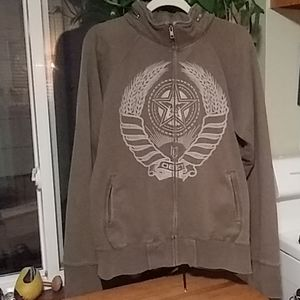 Obey combat green Large zippered hoodie